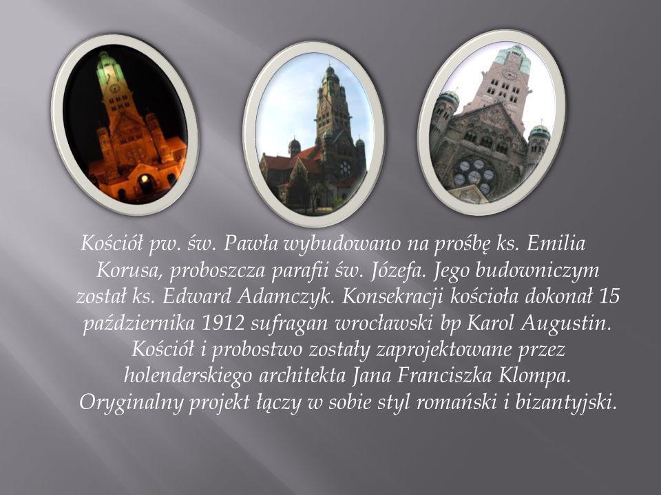Kościół pw. św. Pawła wybudowano na prośbę ks. Emilia Korusa, proboszcza parafii św. Józefa. Jego budowniczym został ks. Edward Adamczyk. Konsekracji