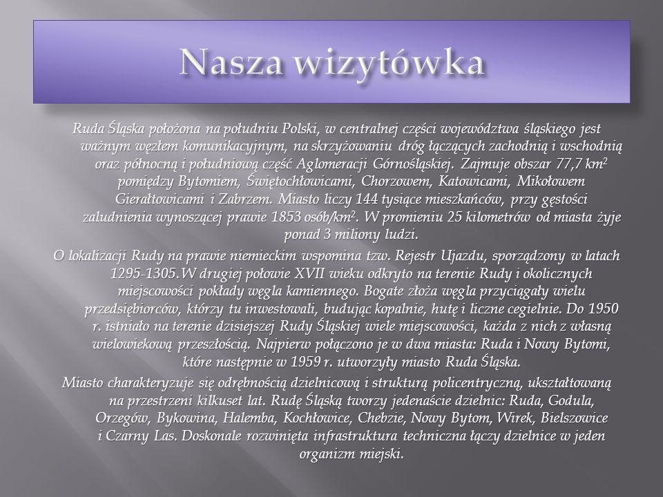 Ruda Śląska położona na południu Polski, w centralnej części województwa śląskiego jest ważnym węzłem komunikacyjnym, na skrzyżowaniu dróg łączących z