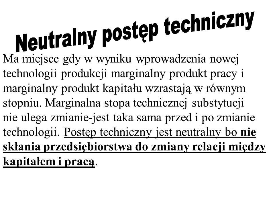 Ma miejsce gdy w wyniku wprowadzenia nowej technologii produkcji marginalny produkt pracy i marginalny produkt kapitału wzrastają w równym stopniu. Ma