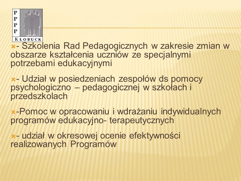 - Szkolenia Rad Pedagogicznych w zakresie zmian w obszarze kształcenia uczniów ze specjalnymi potrzebami edukacyjnymi - Udział w posiedzeniach zespołów ds pomocy psychologiczno – pedagogicznej w szkołach i przedszkolach -Pomoc w opracowaniu i wdrażaniu indywidualnych programów edukacyjno- terapeutycznych - udział w okresowej ocenie efektywności realizowanych Programów