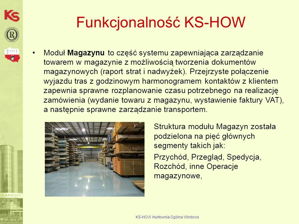 KS-HOW Hurtownia Ogólna Windows Funkcjonalność KS-HOW Moduł Magazynu to część systemu zapewniająca zarządzanie towarem w magazynie z możliwością tworz