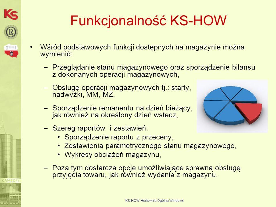 KS-HOW Hurtownia Ogólna Windows Funkcjonalność KS-HOW Wśród podstawowych funkcji dostępnych na magazynie można wymienić: –Przeglądanie stanu magazynow