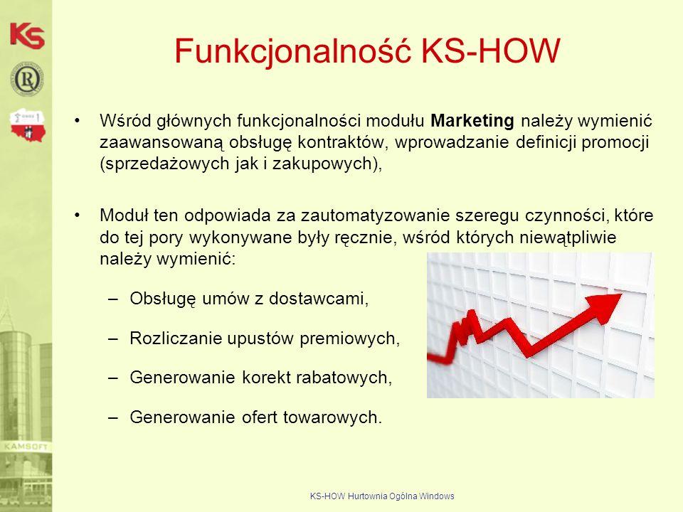 KS-HOW Hurtownia Ogólna Windows Funkcjonalność KS-HOW Wśród głównych funkcjonalności modułu Marketing należy wymienić zaawansowaną obsługę kontraktów,