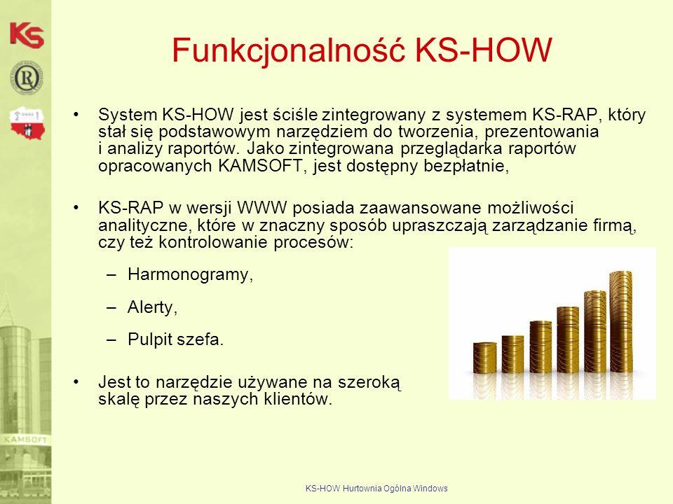 KS-HOW Hurtownia Ogólna Windows Funkcjonalność KS-HOW System KS-HOW jest ściśle zintegrowany z systemem KS-RAP, który stał się podstawowym narzędziem