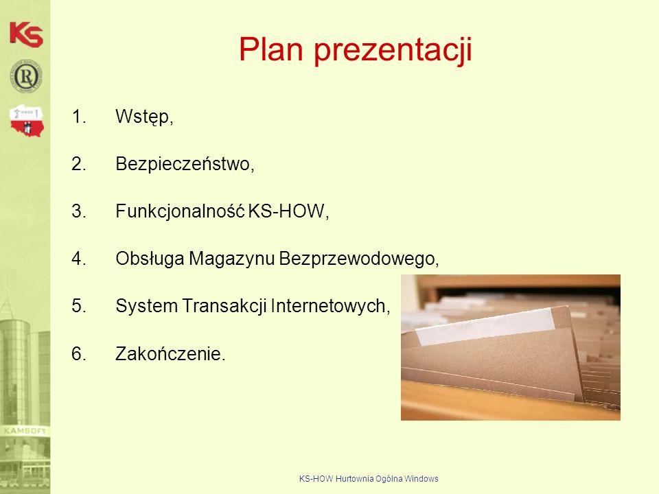 KS-HOW Hurtownia Ogólna Windows Plan prezentacji 1.Wstęp, 2.Bezpieczeństwo, 3.Funkcjonalność KS-HOW, 4.Obsługa Magazynu Bezprzewodowego, 5.System Tran