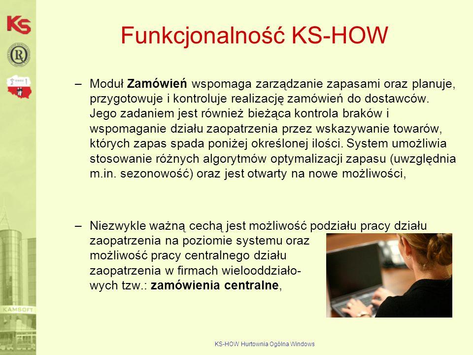 KS-HOW Hurtownia Ogólna Windows Funkcjonalność KS-HOW –Moduł Zamówień wspomaga zarządzanie zapasami oraz planuje, przygotowuje i kontroluje realizację