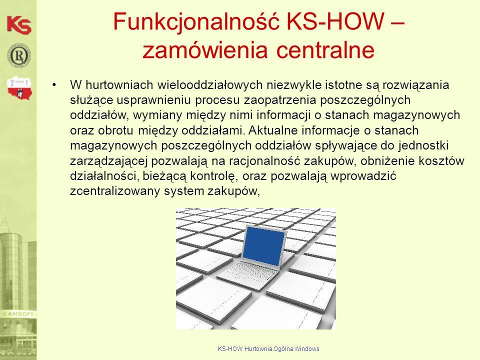 KS-HOW Hurtownia Ogólna Windows Funkcjonalność KS-HOW – zamówienia centralne W hurtowniach wielooddziałowych niezwykle istotne są rozwiązania służące