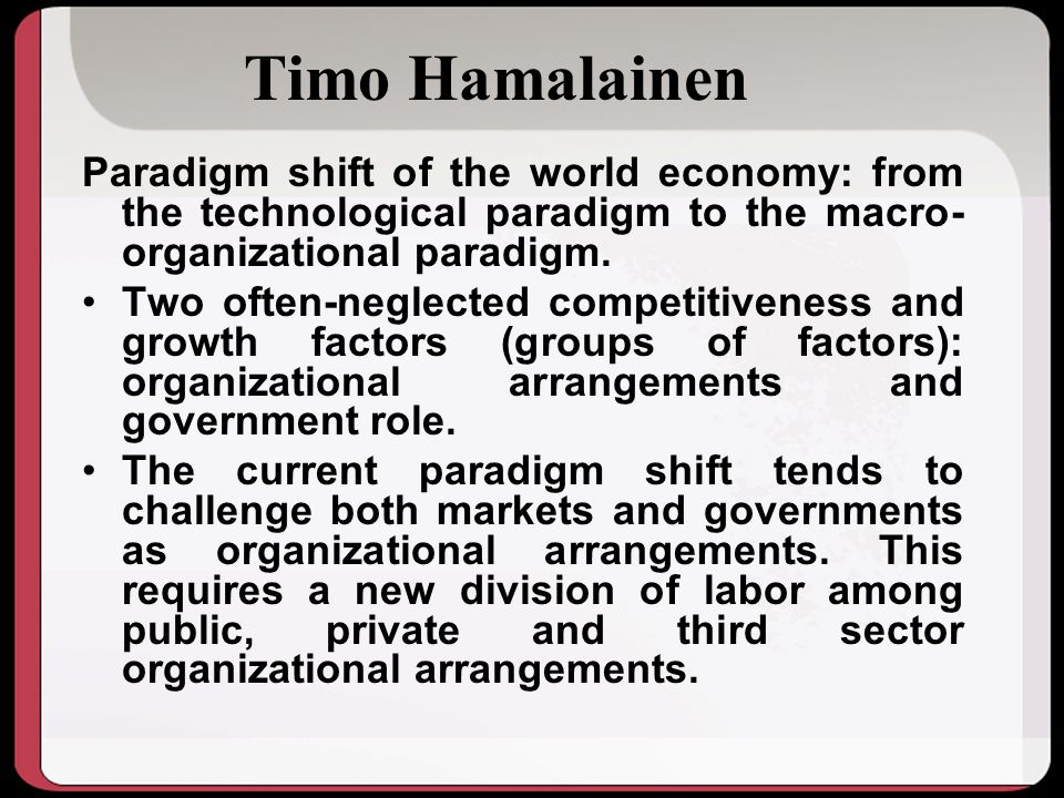 Timo Hamalainen Paradigm shift of the world economy: from the technological paradigm to the macro- organizational paradigm.