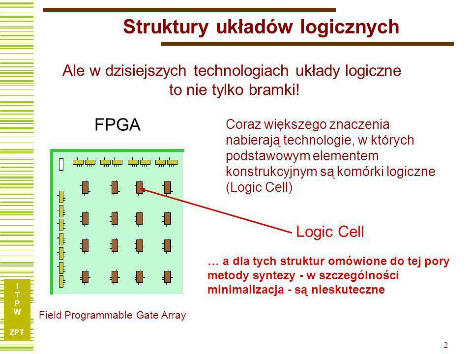 I T P W ZPT 12 K1K2K3K4K5K6K7 1-01-01 ----11- -0100-0 01----0 Relacja zgodności kolumn Kolumny {k r, k s } są zgodne, jeśli nie istnieje wiersz i, dla którego elementy K ir, K is są określone i różne, tzn.