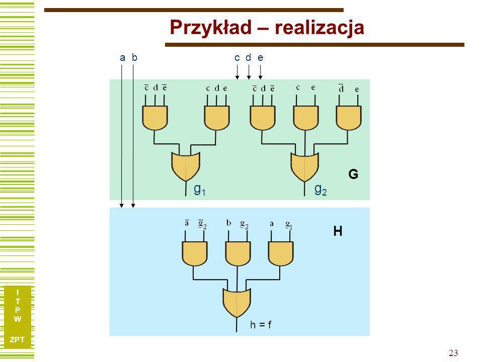 I T P W ZPT 22 Przykład – funkcja h g 1 g 2 ab 00011110 00100- 0111-- 1101-- 10001- Uwaga: Przestawiliśmy wiersze