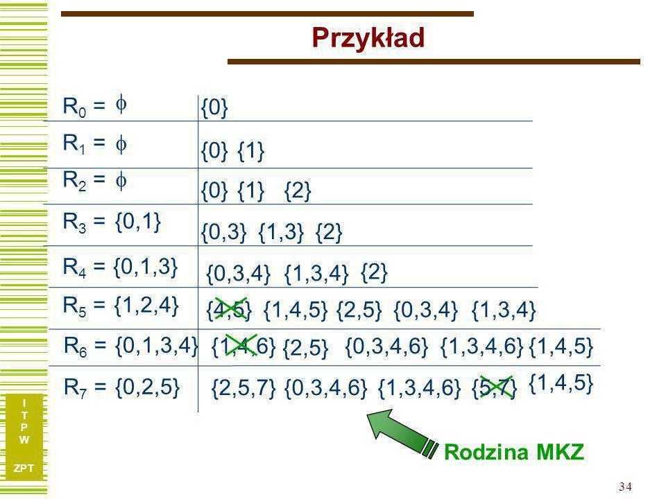 I T P W ZPT 33 Przykład R 0 = R 1 = R 2 = R 3 = R 4 = R 5 = 0,1 0,1,3 1,2,4 R j = { e i | i < j oraz (e i,e j ) E} E: 0,3 0,4 0,6 1,3 1,4 1,5 1,6 2,5 2,7 3,4 3,6 4,5 4,6 5,7 R 6 = 0,1,3,4 R 7 = 0,2,5