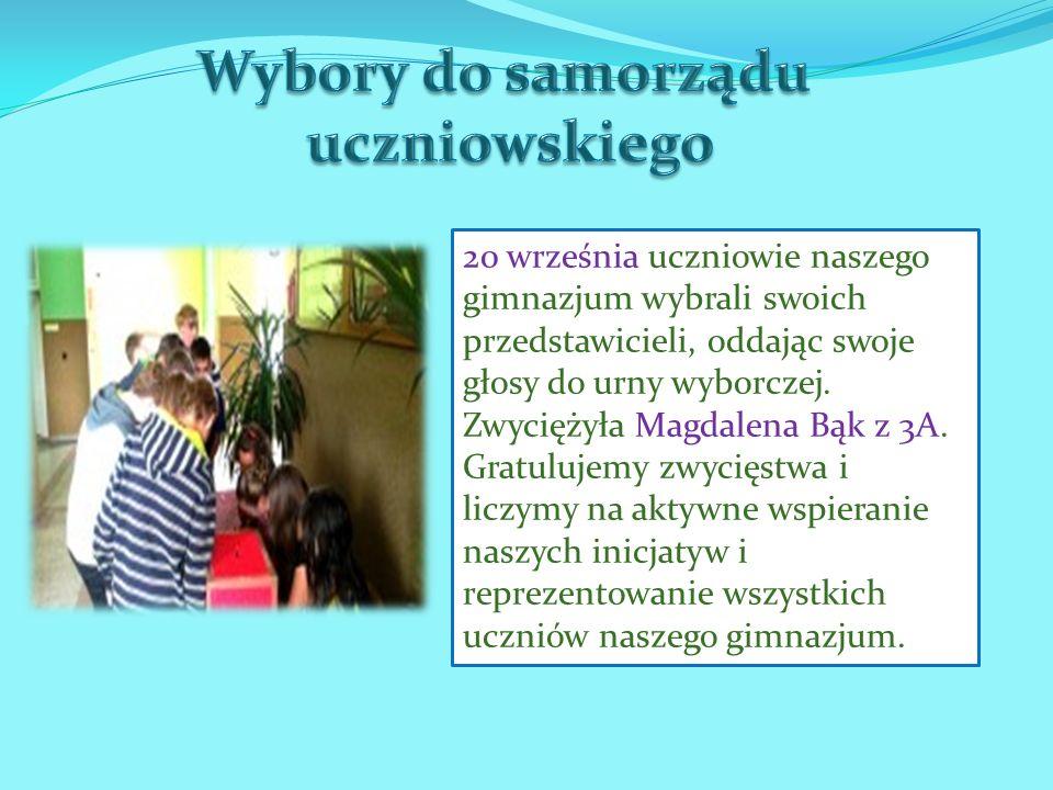 20 września uczniowie naszego gimnazjum wybrali swoich przedstawicieli, oddając swoje głosy do urny wyborczej. Zwyciężyła Magdalena Bąk z 3A. Gratuluj
