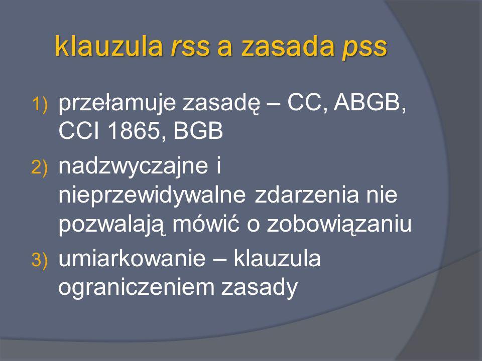 klauzula rss a zasada pss 1) przełamuje zasadę – CC, ABGB, CCI 1865, BGB 2) nadzwyczajne i nieprzewidywalne zdarzenia nie pozwalają mówić o zobowiązan