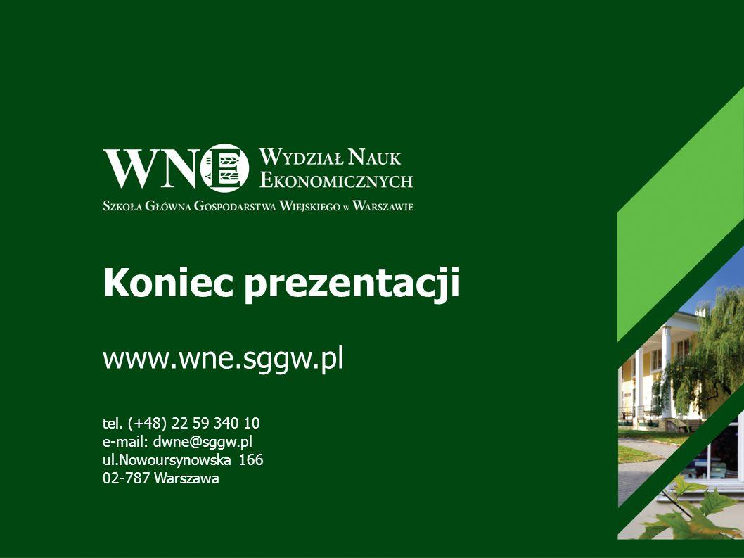 Koniec prezentacji www.wne.sggw.pl tel. (+48) 22 59 340 10 e-mail: dwne@sggw.pl ul.Nowoursynowska 166 02-787 Warszawa