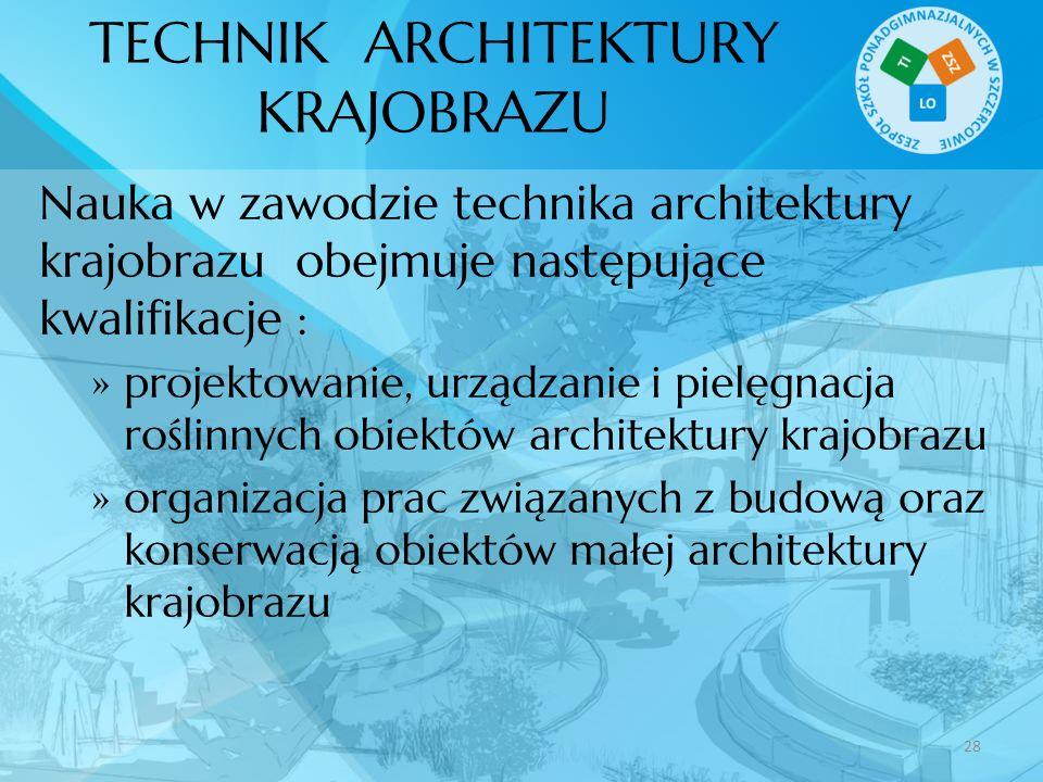 TECHNIK ARCHITEKTURY KRAJOBRAZU Nauka w zawodzie technika architektury krajobrazu obejmuje następujące kwalifikacje : projektowanie, urządzanie i piel