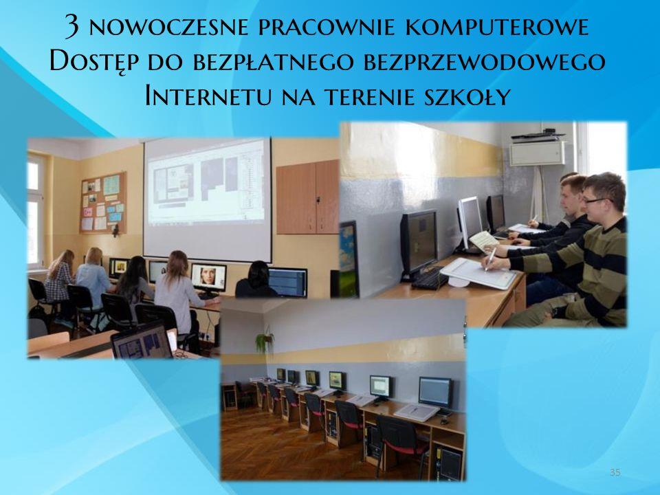 3 nowoczesne pracownie komputerowe Dostęp do bezpłatnego bezprzewodowego Internetu na terenie szkoły 35