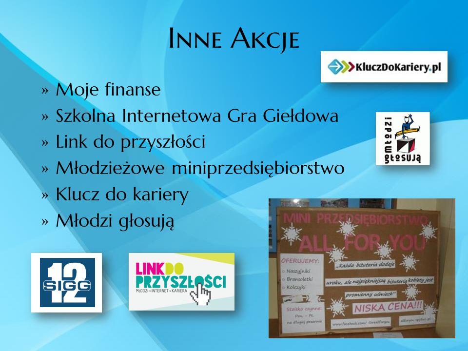 Inne Akcje Moje finanse Szkolna Internetowa Gra Giełdowa Link do przyszłości Młodzieżowe miniprzedsiębiorstwo Klucz do kariery Młodzi głosują