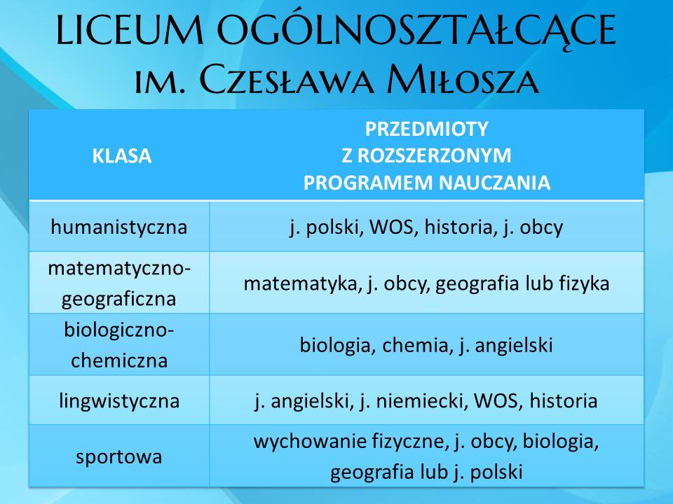 LICEUM OGÓLNOSZTAŁCĄCE im. Czesława Miłosza