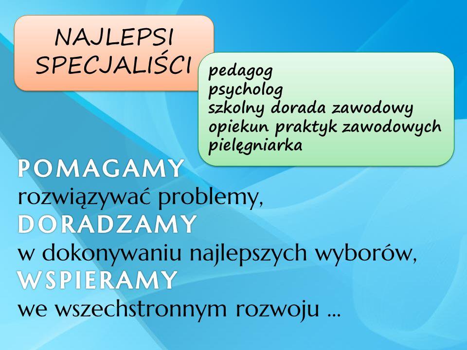 NAJLEPSI SPECJALIŚCI NAJLEPSI SPECJALIŚCI pedagog psycholog szkolny dorada zawodowy opiekun praktyk zawodowych pielęgniarka pedagog psycholog szkolny