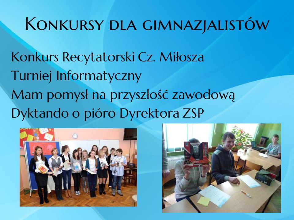 Konkursy dla gimnazjalistów Konkurs Recytatorski Cz. Miłosza Turniej Informatyczny Mam pomysł na przyszłość zawodową Dyktando o pióro Dyrektora ZSP