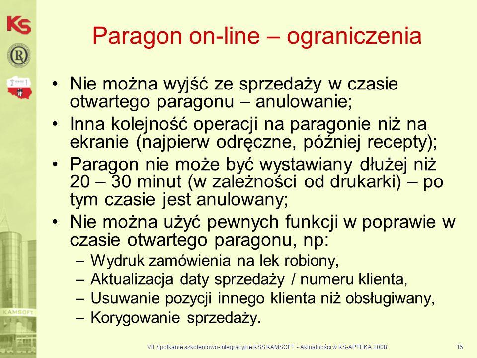 VII Spotkanie szkoleniowo-integracyjne KSS KAMSOFT - Aktualności w KS-APTEKA 200815 Paragon on-line – ograniczenia Nie można wyjść ze sprzedaży w czas