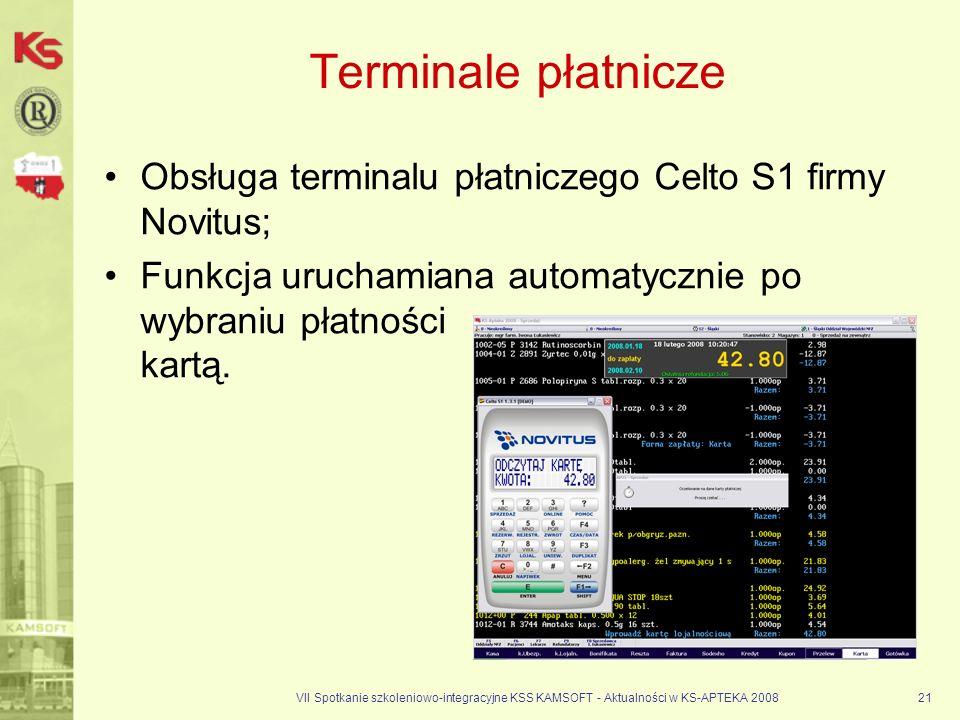 VII Spotkanie szkoleniowo-integracyjne KSS KAMSOFT - Aktualności w KS-APTEKA 200821 Terminale płatnicze Obsługa terminalu płatniczego Celto S1 firmy N