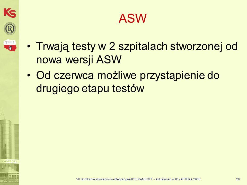 VII Spotkanie szkoleniowo-integracyjne KSS KAMSOFT - Aktualności w KS-APTEKA 200829 ASW Trwają testy w 2 szpitalach stworzonej od nowa wersji ASW Od c