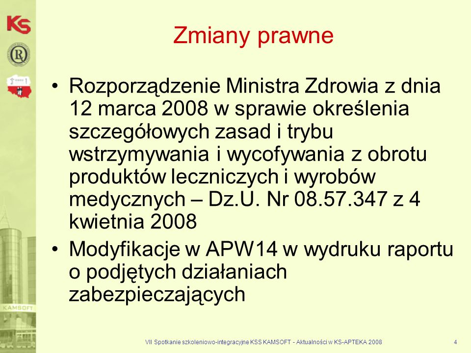 VII Spotkanie szkoleniowo-integracyjne KSS KAMSOFT - Aktualności w KS-APTEKA 20084 Zmiany prawne Rozporządzenie Ministra Zdrowia z dnia 12 marca 2008