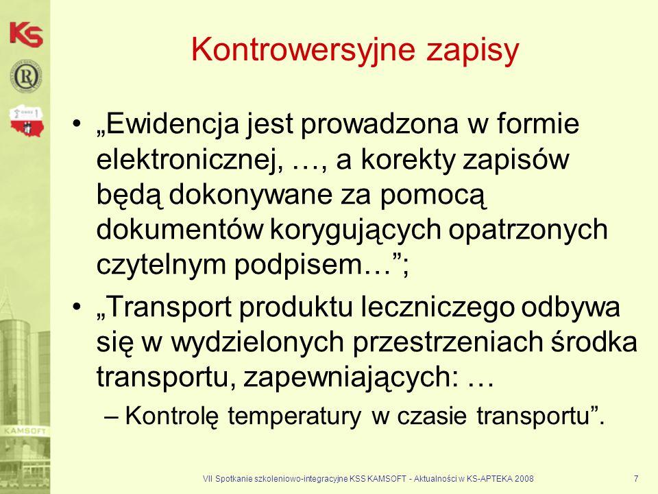 VII Spotkanie szkoleniowo-integracyjne KSS KAMSOFT - Aktualności w KS-APTEKA 20087 Kontrowersyjne zapisy Ewidencja jest prowadzona w formie elektronic