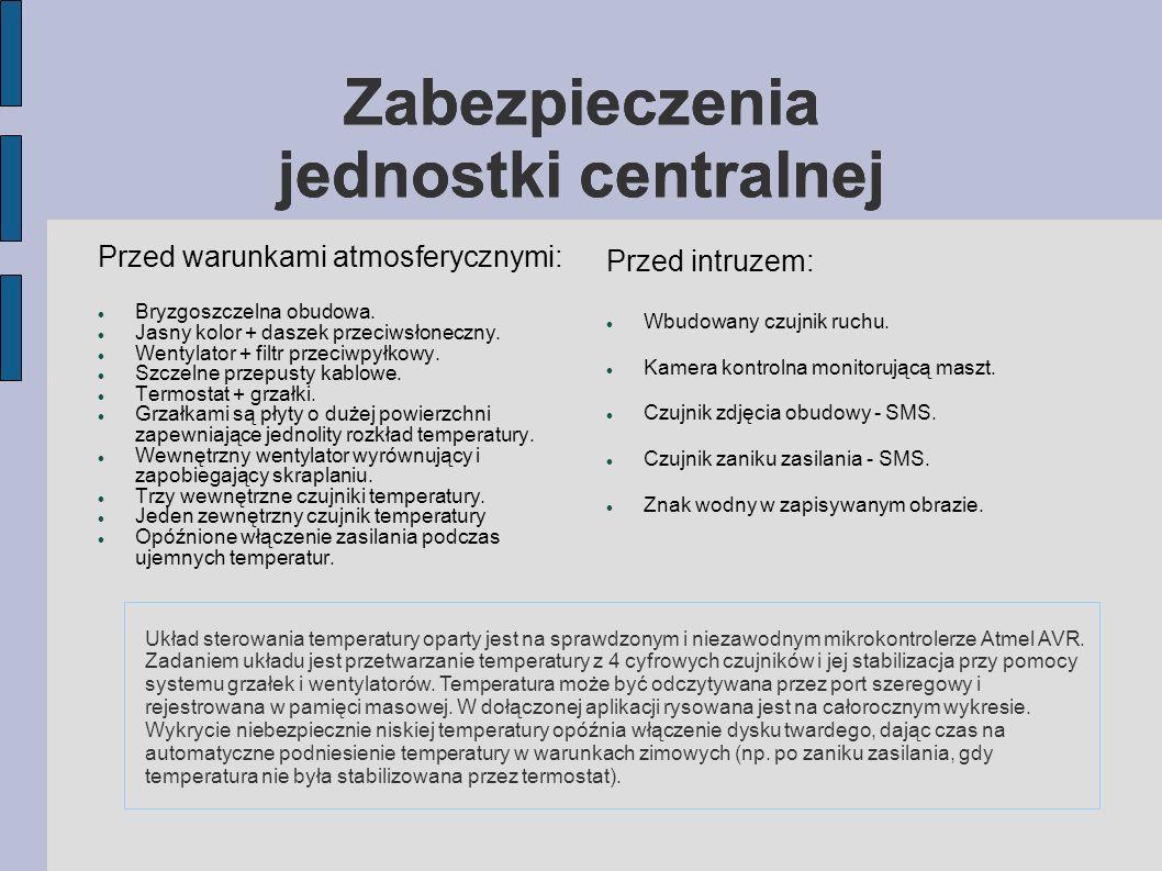 Zabezpieczenia jednostki centralnej Przed warunkami atmosferycznymi: Bryzgoszczelna obudowa.