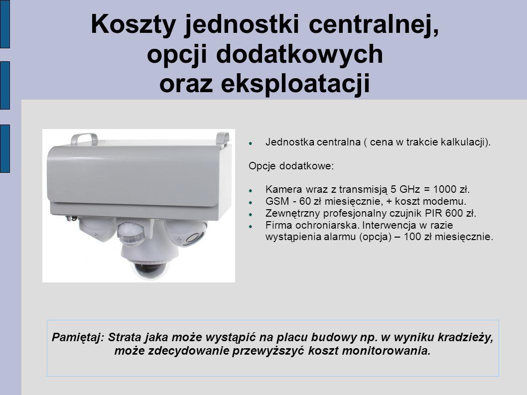 Koszty jednostki centralnej, opcji dodatkowych oraz eksploatacji Jednostka centralna ( cena w trakcie kalkulacji).