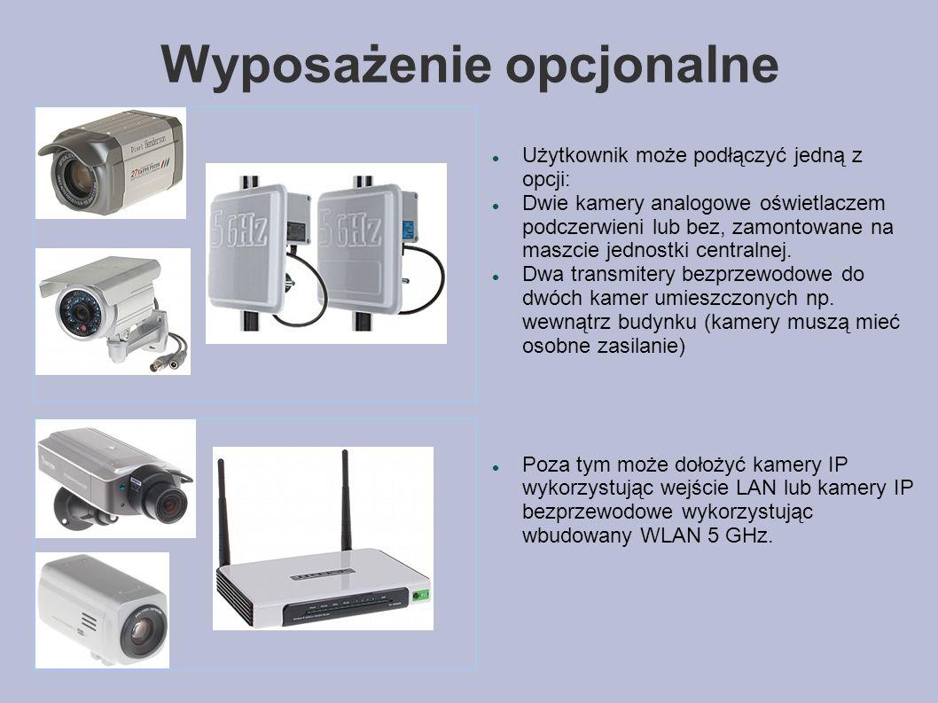 Wyposażenie opcjonalne Użytkownik może podłączyć jedną z opcji: Dwie kamery analogowe oświetlaczem podczerwieni lub bez, zamontowane na maszcie jednostki centralnej.
