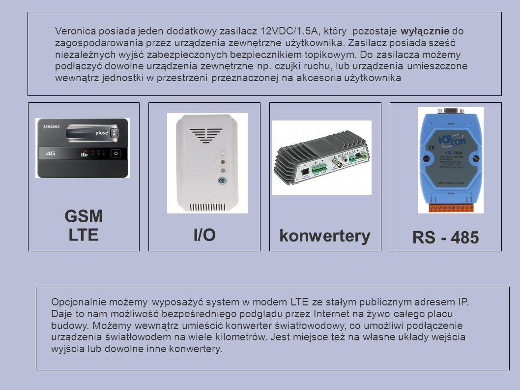 GSM LTE I/O konwertery RS - 485 Opcjonalnie możemy wyposażyć system w modem LTE ze stałym publicznym adresem IP.