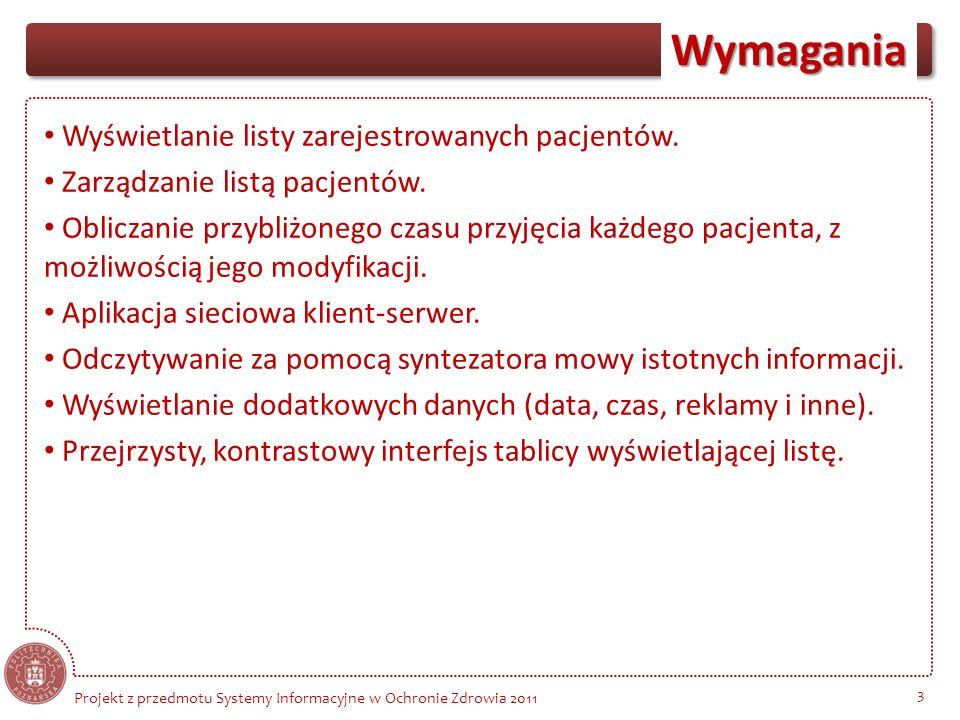 Wymagania 3 Wyświetlanie listy zarejestrowanych pacjentów. Zarządzanie listą pacjentów. Obliczanie przybliżonego czasu przyjęcia każdego pacjenta, z m