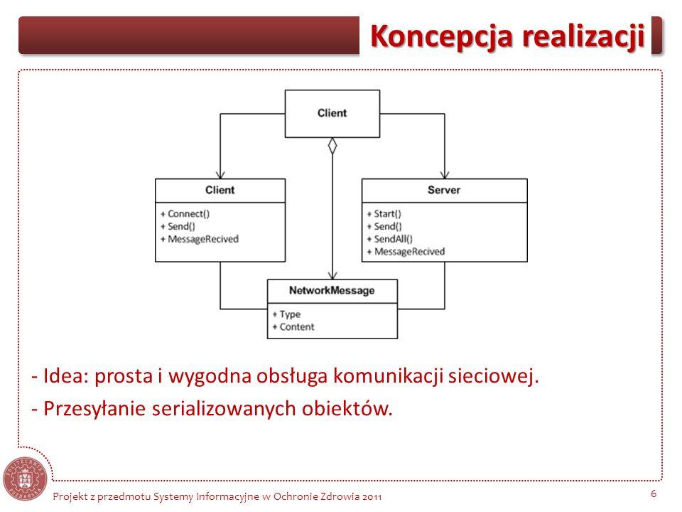 Koncepcja realizacji 6 Projekt z przedmotu Systemy Informacyjne w Ochronie Zdrowia 2011 - Idea: prosta i wygodna obsługa komunikacji sieciowej. - Prze