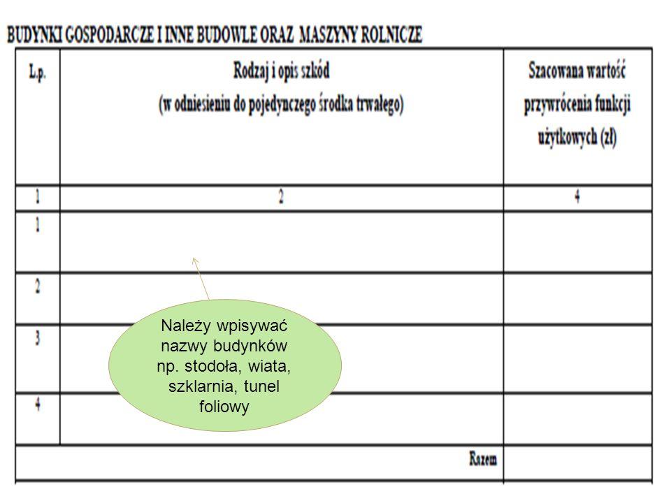 % poziom szkód należy przenieść z załącznika nr 1 lub 1a do protokołu. Uwzględniamy produkcję roślinną i zwierzęcą