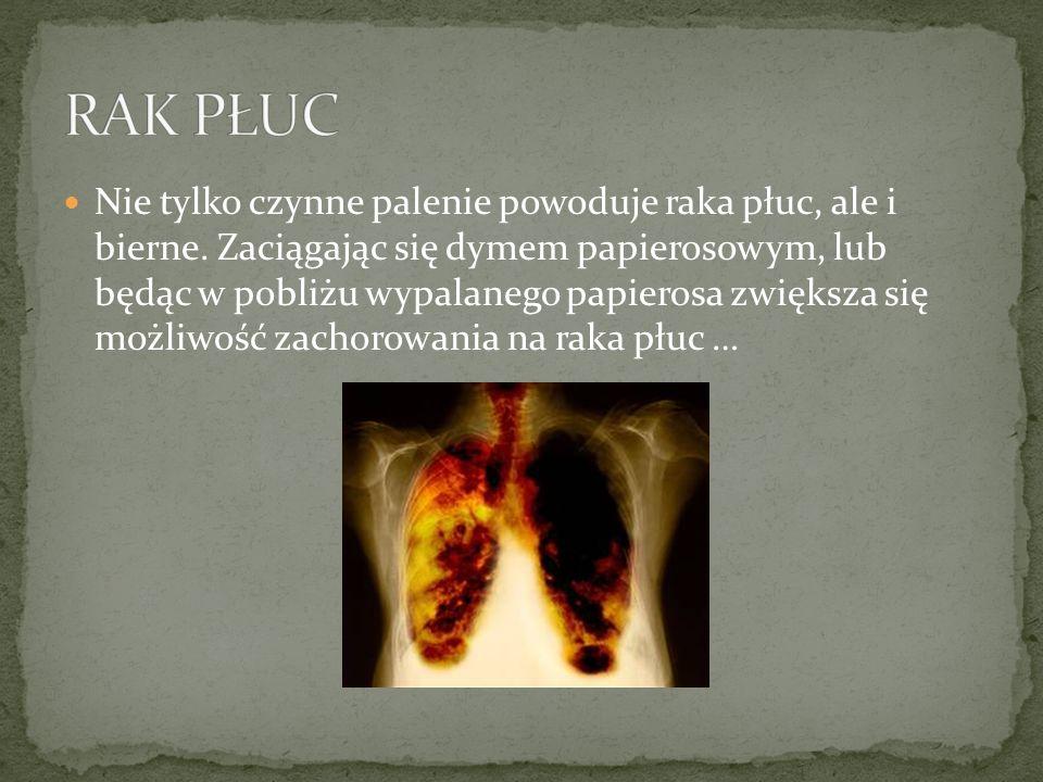 Nie tylko czynne palenie powoduje raka płuc, ale i bierne.