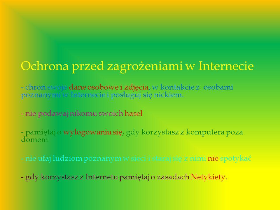 Ochrona przed zagrożeniami w Internecie - chroń swoje dane osobowe i zdjęcia, w kontakcie z osobami poznanymi w Internecie i posługuj się nickiem. - n
