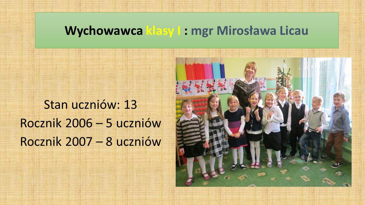Stan uczniów: 13 Rocznik 2006 – 5 uczniów Rocznik 2007 – 8 uczniów Wychowawca klasy I : mgr Mirosława Licau