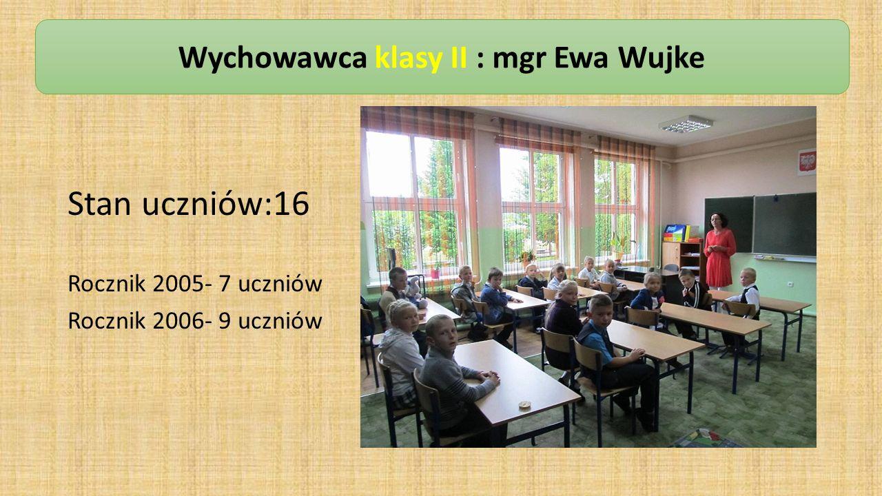 Stan uczniów:16 Rocznik 2005- 7 uczniów Rocznik 2006- 9 uczniów Wychowawca klasy II : mgr Ewa Wujke