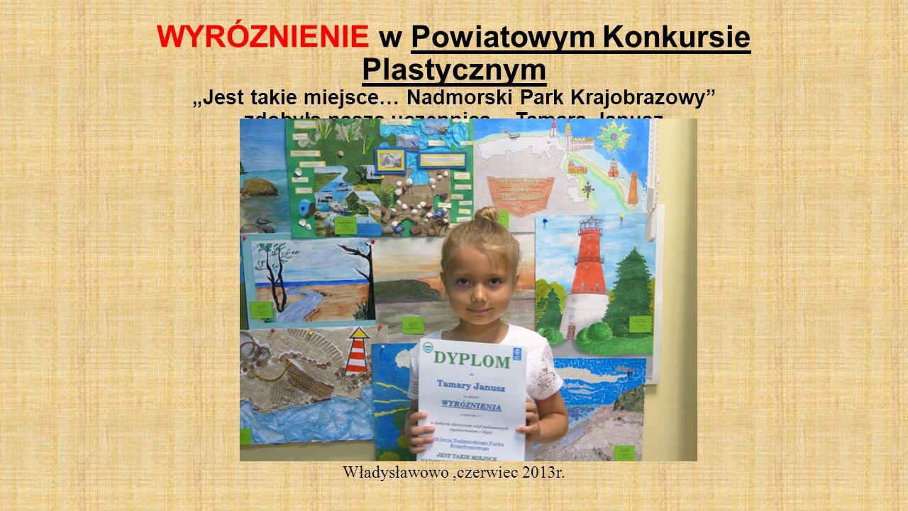 WYRÓZNIENIE w Powiatowym Konkursie Plastycznym Jest takie miejsce… Nadmorski Park Krajobrazowy zdobyła nasza uczennica – Tamara Janusz Władysławowo,czerwiec 2013r.