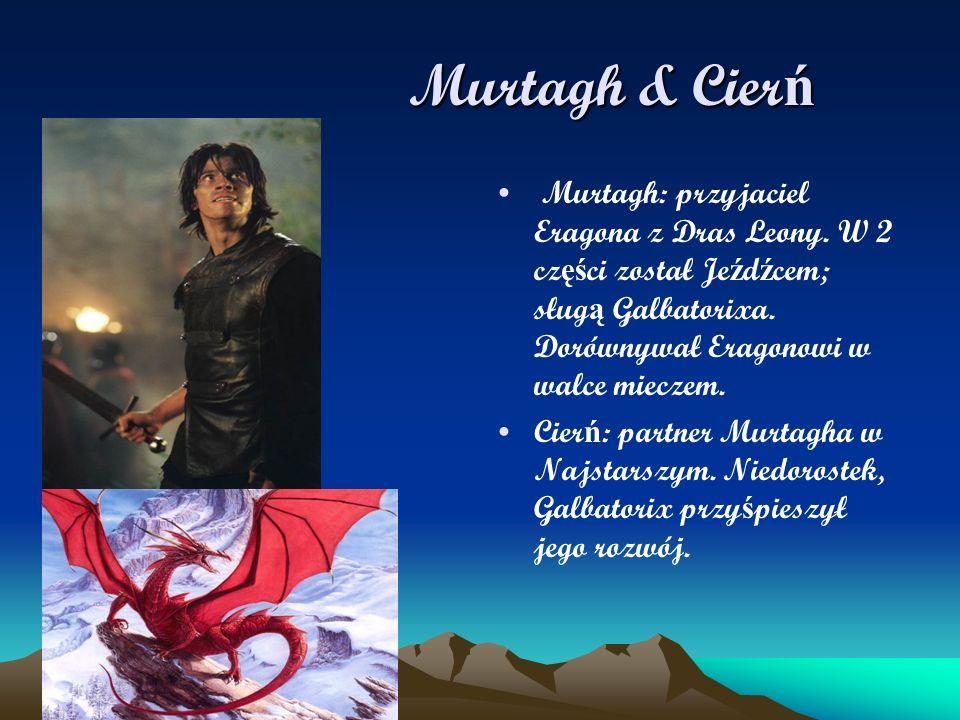 Murtagh & Cier ń Murtagh & Cier ń Murtagh: przyjaciel Eragona z Dras Leony. W 2 cz ęś ci został Je ź d ź cem; sług ą Galbatorixa. Dorównywał Eragonowi