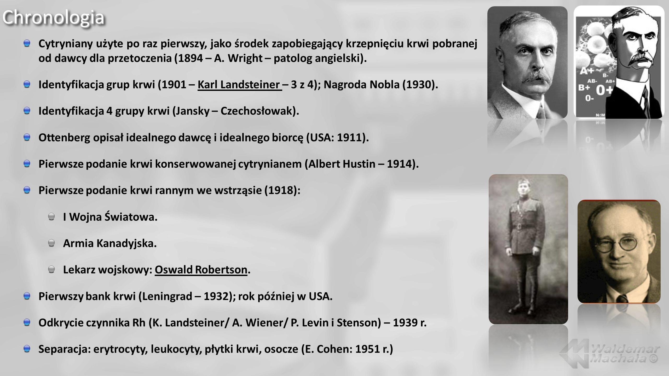 ChronologiaChronologia Cytryniany użyte po raz pierwszy, jako środek zapobiegający krzepnięciu krwi pobranej od dawcy dla przetoczenia (1894 – A.