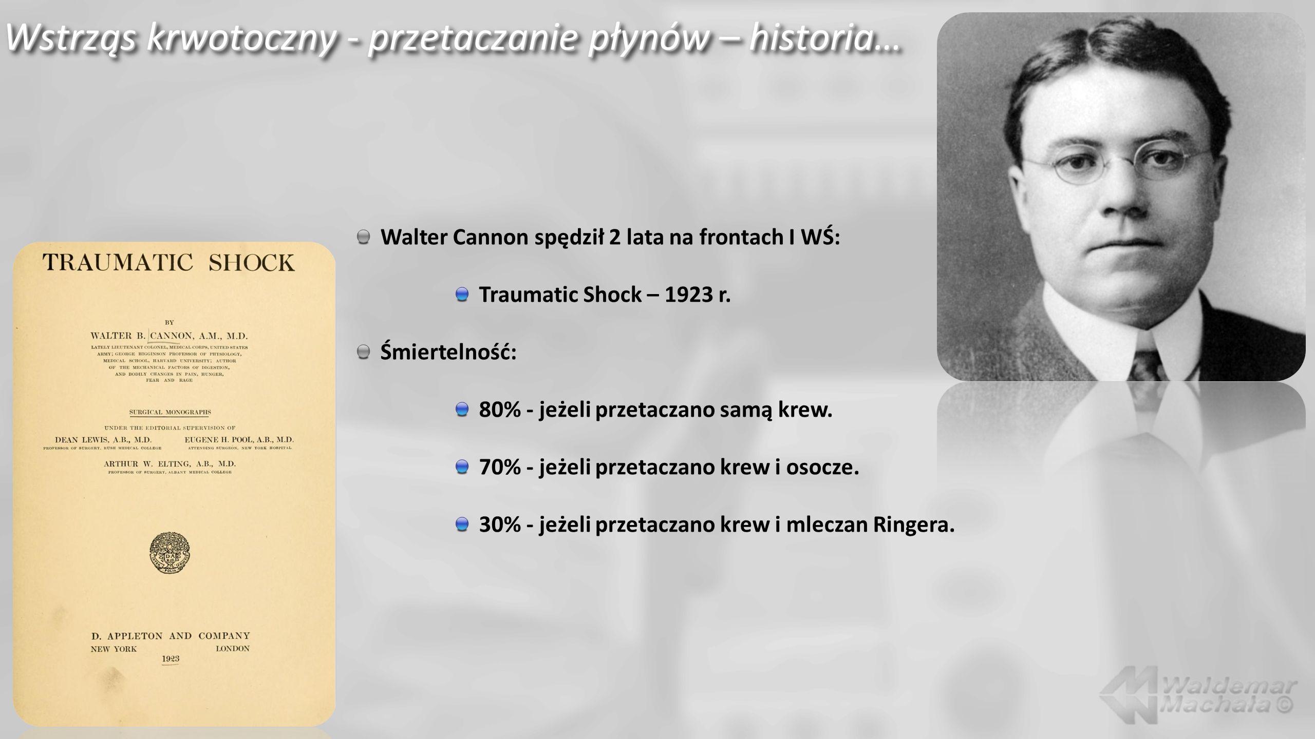 Wstrząs krwotoczny - przetaczanie płynów – historia… Walter Cannon spędził 2 lata na frontach I WŚ: Traumatic Shock – 1923 r.