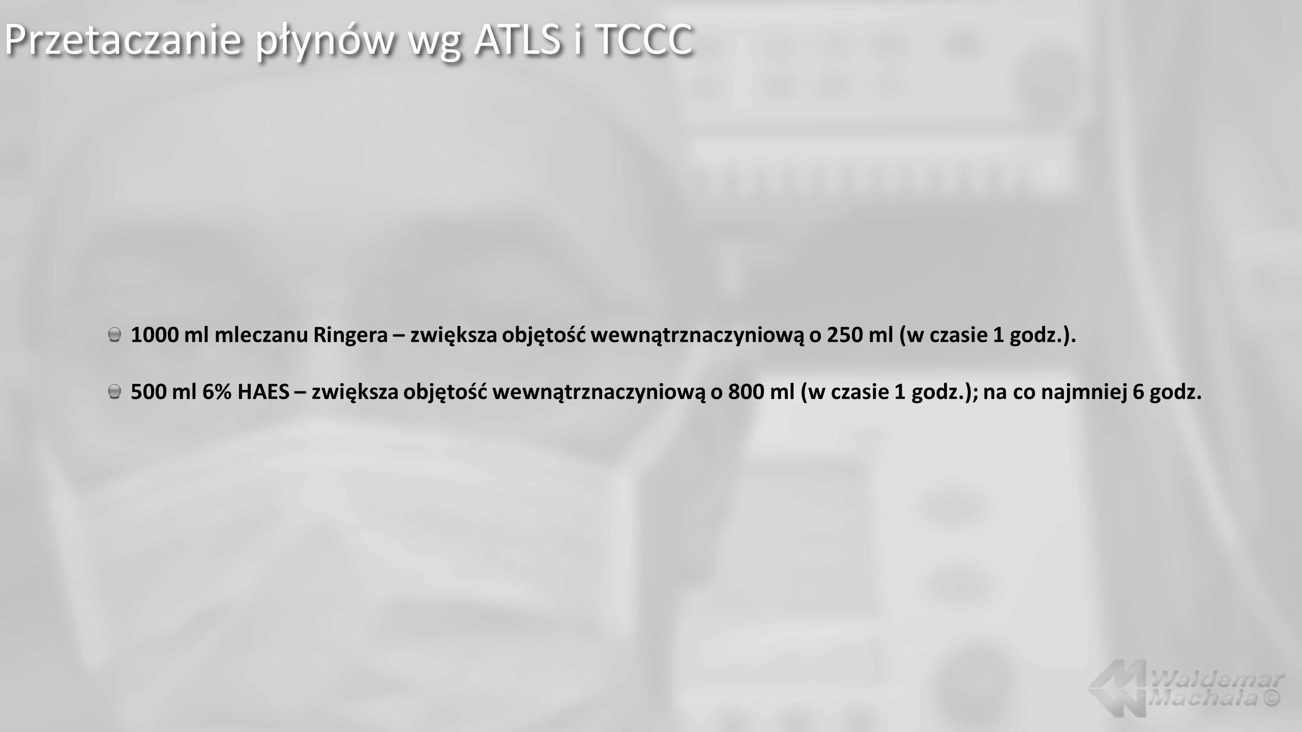 Przetaczanie płynów wg ATLS i TCCC 1000 ml mleczanu Ringera – zwiększa objętość wewnątrznaczyniową o 250 ml (w czasie 1 godz.).