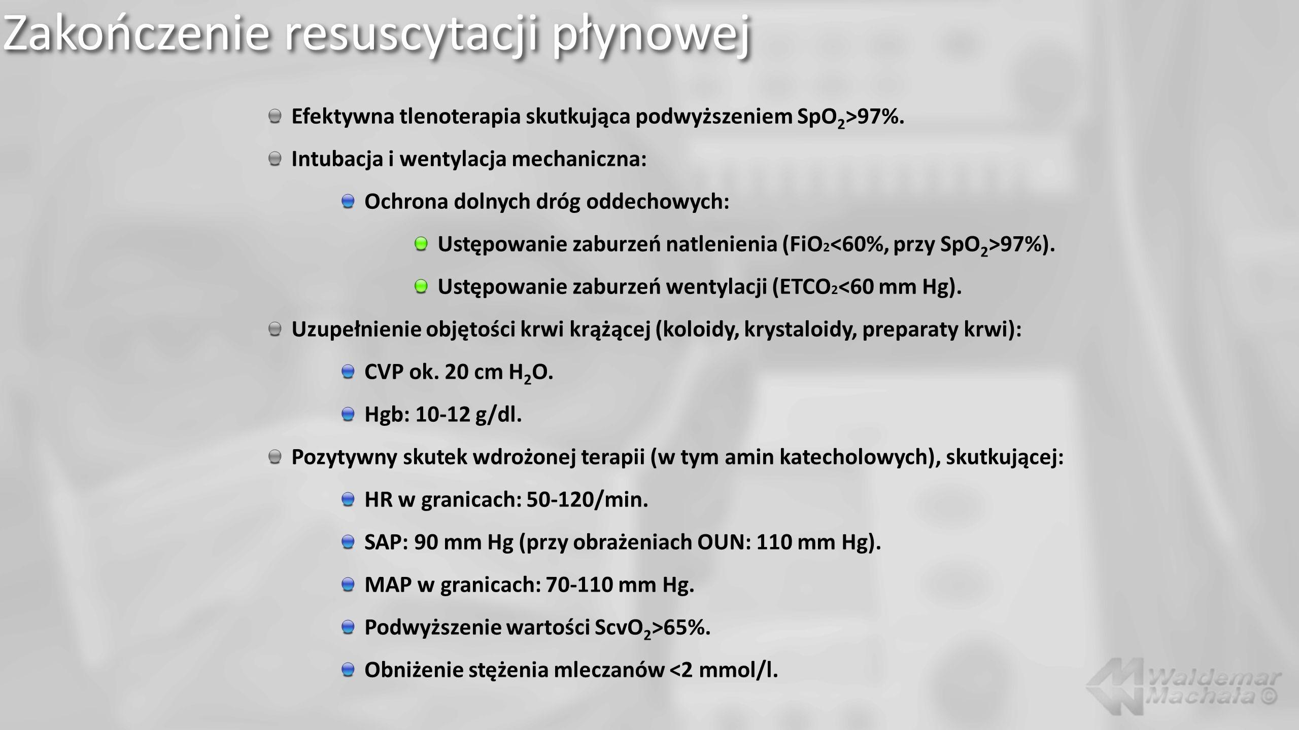 Zakończenie resuscytacji płynowej Efektywna tlenoterapia skutkująca podwyższeniem SpO 2 >97%.