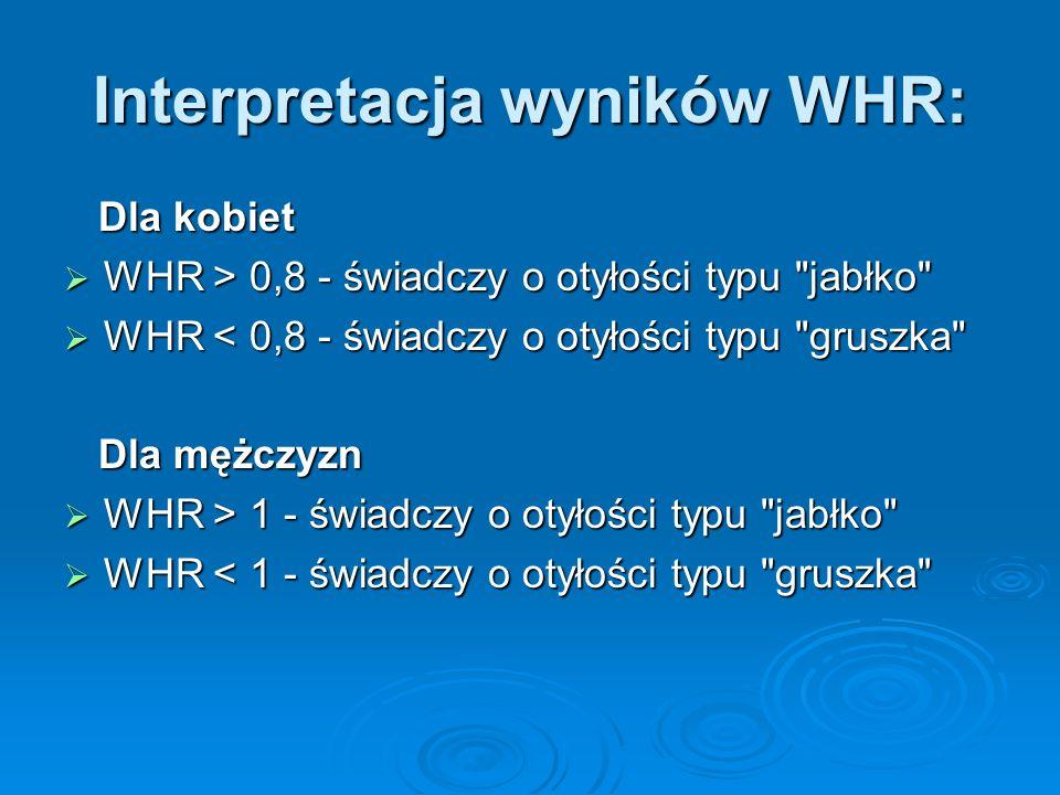 Interpretacja wyników WHR: Dla kobiet Dla kobiet WHR > 0,8 - świadczy o otyłości typu jabłko WHR > 0,8 - świadczy o otyłości typu jabłko WHR < 0,8 - świadczy o otyłości typu gruszka WHR < 0,8 - świadczy o otyłości typu gruszka Dla mężczyzn Dla mężczyzn WHR > 1 - świadczy o otyłości typu jabłko WHR > 1 - świadczy o otyłości typu jabłko WHR < 1 - świadczy o otyłości typu gruszka WHR < 1 - świadczy o otyłości typu gruszka