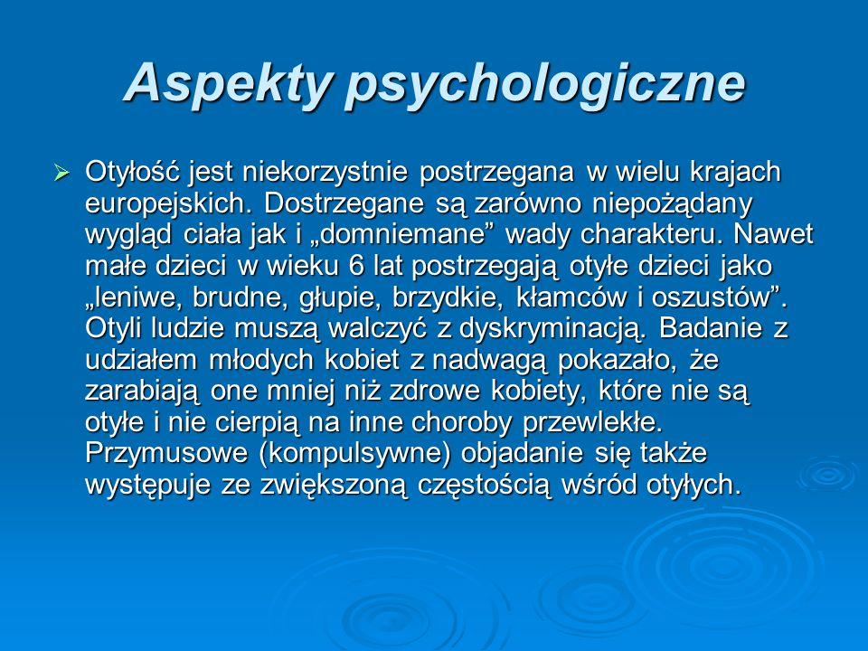 Aspekty psychologiczne Otyłość jest niekorzystnie postrzegana w wielu krajach europejskich.