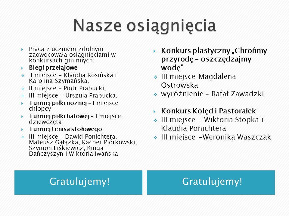 Gratulujemy! Praca z uczniem zdolnym zaowocowała osiągnięciami w konkursach gminnych: Biegi przełajowe I miejsce - Klaudia Rosińska i Karolina Szymańs