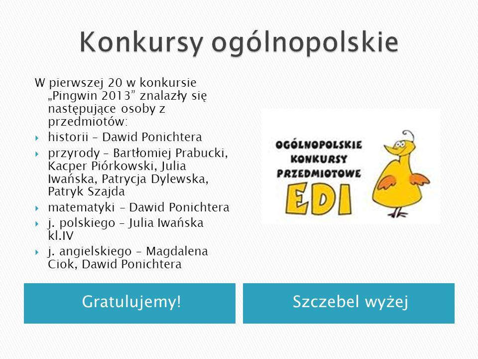 Gratulujemy!Szczebel wyżej W pierwszej 20 w konkursie Pingwin 2013 znalazły się następujące osoby z przedmiotów: historii – Dawid Ponichtera przyrody